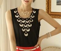 2014 Fashion Sexy Women Blouse & Shirts Solid Sleeveless White Color Chiffon Blouse Plus Size S-XL