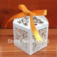 Sample Free shipping 10 pcs White Ivy Little Vine Laser cut Wedding Candy Box Paper Favor Box Party favor gift box white ribbon