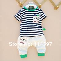 Retail New 2014 Summer Children Clothing Set Baby Boys Girls Cotton Stripe Cat Top + Pants 2PCS Casual Sports Set Infant Set _10
