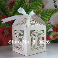 Sample Free shipping 10 pcs Ivory Bird Cage Laser cut Wedding Candy Box Pearled Paper Favor Box Baby Shower Party gift DIY box
