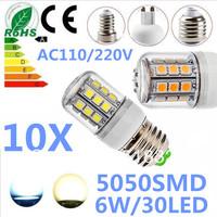 Waterproof 10X E27 6W 30leds 5050 SMD 110V/220V White / Warm White LED Corn Light Lamp bulbs Led Lighting free shipping