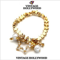 New 2014 Vintage Latest Beaded Stars Pearl Anchor Bracelets For Women