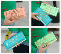 2014 New Graceful hollow Lithe and pierced wonderful engraving leather women wallets woman messenger bag women's design wallet