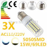 Free shipping  3X Ultra bright 15W 69LED 5050 SMD E27 LED Corn Bulb Light Maize Lamp Warm white / white 110V/220V