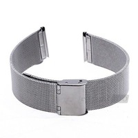 20mm Durable Silver Steel Watch Band Strap Deployment Buckle