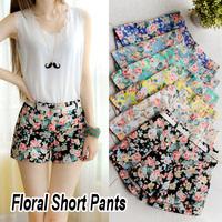 New 2014 Spring Summer Fashion Designer Flower Pattern Floral Elastic High Waist Ladies Pants Mini Trouser Women Shorts