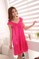 2014 Japanese Princess Sexy Sling Ice Silk Pajamas Silk Nightgown Lace Bandeau Lady Pajamas For Women