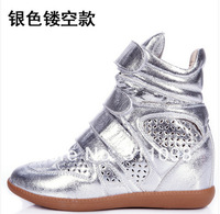 Summer hollow out Han edition of Velcro increased in color matching single shoes sneakers leisure high help female shoes