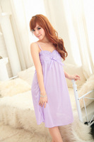 2014 New Quality Lovely Ice Princess Flounced Silk Suspenders Lingerie Sexy Female Summer Home Strap Dress Nightgown Nightwear
