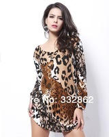 2014 new large size European and American trade spend cashmere  fashion wild leopard dress fat MM