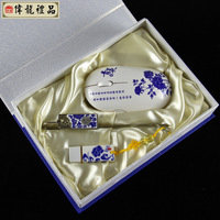 Blue and white porcelain set mouse usb flash drive bookmark piece set chinese style gift commercial conference gifts