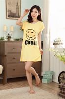 New 2014 Cotton Pijama Sleepwear Cartoon Print Dresses Nightdress Nightgown Summer Pajamas For Women Girl Free Shipping
