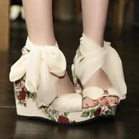 2014 summer new fish mouth wedges women sandals Bohemia large base platform shoes Bud silk bracelet strap princess shoes