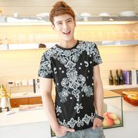 2014 summer the trend of cartoon figure t-shirt short-sleeve T-shirt male 601t33p35