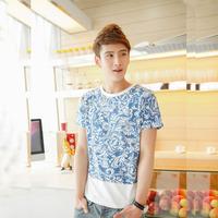 2014 summer big chrysanthemum print o-neck short-sleeve T-shirt 601t35p35