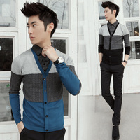 Shirt collar patchwork thin sweater long-sleeve sweater male my028p75