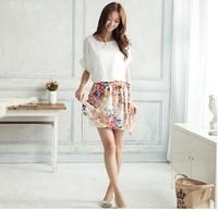 New 2014  Women  Casual Dress Short Sleeve Floral Flower Chiffon  Dress  SI090
