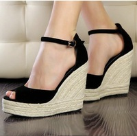 2014 women's shoes elegant fashion open toe shoe straw braid wedges platform velvet platform sandals