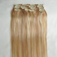 "Free Shipping 100% real Brazilian  virgin Human Hair Clip in Extensions 14"" -30"" 70g -120g 7Pcs/Set  #18-613mixed  blonde"