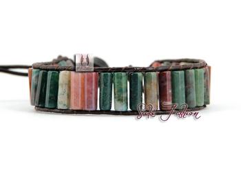 Эксклюзивные натуральные индия агат одного кожаный браслет обруча оптовая продажа ...