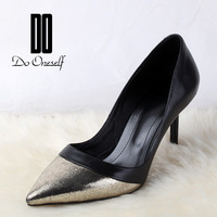 Do female 2014 cattle genuine leather color block high-heeled shoes fashion pointed toe sweet thin heels single shoes