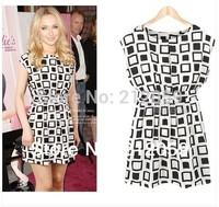 2014 fashion summer plaid women dress sleeveless o-neck white bottom black slim loose waist one-piece dresses