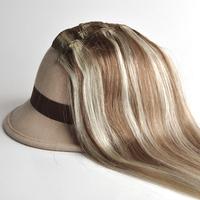 "Free Shipping 100% real Brazilian  virgin Human Hair Clip in Extensions 14"" -30"" 70g -120g 7Pcs/Set  #8-613 mixed  brown blonde"
