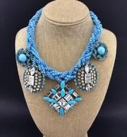 European Style Multilayer Beaded Chain Rhinestone Crystal Resin Gem Flower Tassels Luxury Statement Necklace Best Quality