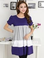 2014 wholesale multi-colored stripes puff sleeve dress maternity dress 2013001 free shipping