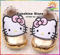 Sunshine store #2X0041 3 pair/lot(golden)Newborn fashion girls baby sneakers antiskid canvas shoes hello Kitty Kids First Walker