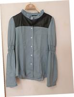 2014 spring and summer fashion women's light blue water wash denim PU patchwork turtleneck long-sleeve shirts/Blouses,Free Ship