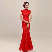 The bride cheongsam wedding dress married long design 2014 short-sleeve evening dress red lace fish tail slim formal dress