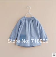 2014 spring new girls casual denim blouses girls long sleeve denim shirt with pocket kids brand shirts 2T-8T