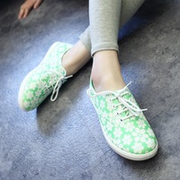 2014 new shoes low shoes female shoes Candy color flowers canvas shoes