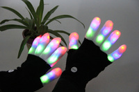 2014 New Arrival Hip Hop Gloves LED Flashing Gloves Light Up Glow Gloves Free Shipping