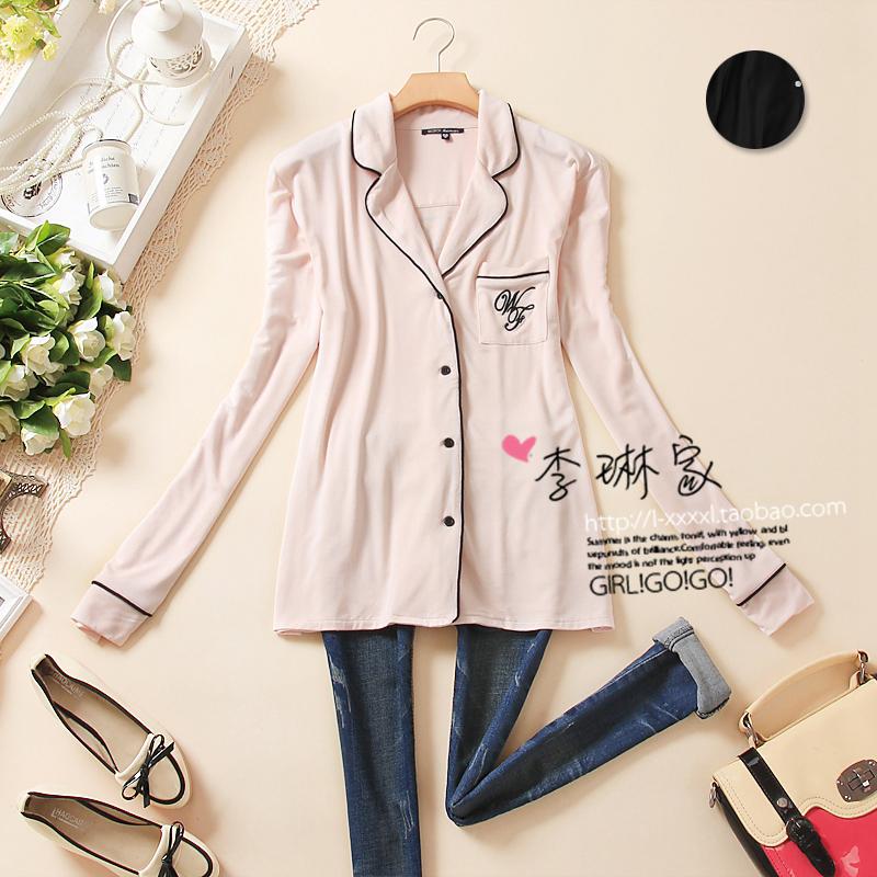 104 - 132 bordered fashion letter long sleeve length sleepwear(China (Mainland))