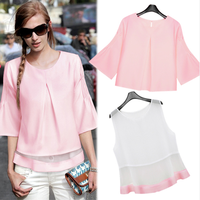Free Shipping 2014 Elegant pleated three quarter sleeve top vest and blouse women twinset