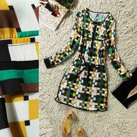 2014 spring fashion o-neck drawstring waist bag sewing knitted pattern one-piece dress q4742