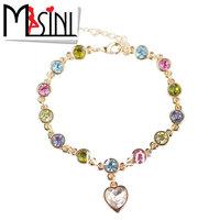 2014 Fashion Women Accessories love jewelry noble Heart bracelet 6171 senior zircon gold plated bracelet Free Shipping