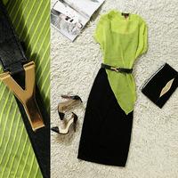 2014 spring and summer fashion o-neck irregular slim hip full dress twinset one-piece dress q5046