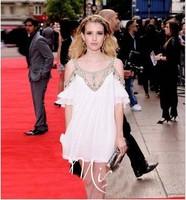 2014 Fashion elegant emma roberts strapless white full dress handmade beaded chiffon piece princess dress Free shipping vestidos
