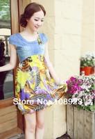 Free shipping hot clothes maternity 2014 Korean fashion chiffon dress new maternity denim stitching A1100-001