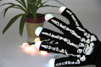 Colorful Party Hip Hop Gloves Flashing Gloves Skull Light Up Glow Gloves LED Mittens 50Pcs/Lot Free Shipping
