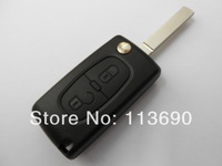 Uncut Car Cover 2 Buttons Flip Folding Key Case Blank Shell No Battery Place Inside No Groove For Peugeot 307 407 207