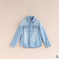 2014 spring new baby boys fashion polka dot denim shirts kids shirts for boys girls blouses childrens shirts 2t-8t
