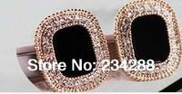 Wholesale Hot sale Individual Designer Black Pearl Earrings Rhinestone Gold Plated Gem Round