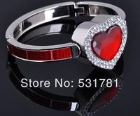 Only 1pcs/Lot ! New products 2014 Top hot sales Ruby Red Crystal Heart Bracelet Bag Hanger,fashion Bag Hook bracelet promotion