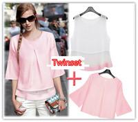 New Fashion Casual Women Chiffon Ruffles Slim Shirt Brief Elegant Fresh Ladies Twinset Cute Shirt And Blouses 2014 Summer