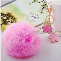 Hot-selling winter spend big rabbit fur ball  keychain  promotional item