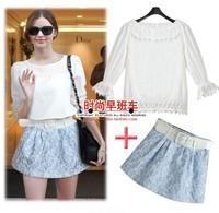 2014 Summer New Fashion Brief Casual Ladies Twinset Lace Flora Tops Mini Skirt Set Elegant Nobel Women Two Pieces Suit S-L